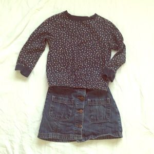 Other - Girls denim skirt and sweatshirt outfit